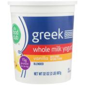 Food Club Vanilla Blended Greek Whole Milk Yogurt