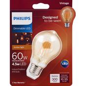 Philips Light Bulb, LED, Indoor/Outdoor, Amber Light, 4.5 Watts