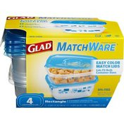 Glad Food Storage Containers, Matchware Rectangle, Two 32 Ounce, Two 64 Ounce