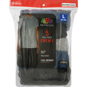 Fruit of the Loom T-Shirt, Tag-Free Crew, Assorted Colors, Men's, Large (42-44 Inch), 5 Pack