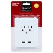 Essential Everyday Charging Station with Phone Holder, Surge Protector Multi-Tap