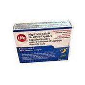 Life Brand Nighttime Cold & Flu Liquid Capsules