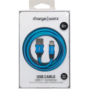 Chargeworx USB Cable, USB-C Connector, 6 Feet