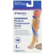 TopCare Firm Support Medical Beige Open-Toe Below Knee Compression Socks For Men And Women, X-Large