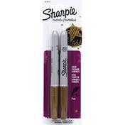 Sharpie Permanent Markers, Fine, Metallic Gold