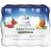 LALA Wild Strawberry and Tropical Mango Yogurt Smoothies with Probiotics Variety Pack