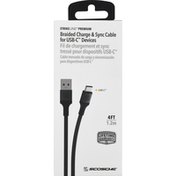 Scosche Charge & Sync Cable, Braided, for USB-C Devices, Black, 4 Feet