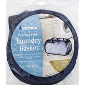 Whitmor Laundry Basket, Pop and Fold, Blue