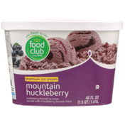Food Club Mountain Huckleberry Flavored Premium Ice Cream Swirled With A Huckleberry Flavored Ribbon