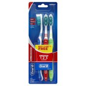 Oral-B Oral Care, Toothbrush, All Rounder, Medium, Value Pack, 3 Brushes, Blister Pack