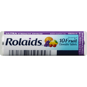 Rolaids Antacid, Ultra Strength, Chewable Tablets, Assorted Fruit