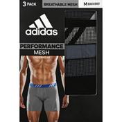 adidas Men's Sport Performance Mesh Boxer Briefs – 3 Pack - M - Black/Onix/Black