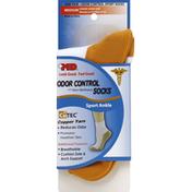 Md Socks, Odor Control and Skin Wellness, Sport Ankle, Medium, White/Copper
