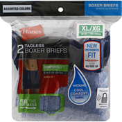 Hanes Boxer Briefs, Tagless, Assorted Colors, Extra Large