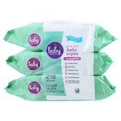 Baby Basics Baby Wipes, Soft & Thick, Unscented, 3 Packs