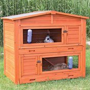 """Trixie 52.25""""L x 47.25""""W x 32.5""""H Large Two-Story Rabbit Hutch With Attic"""