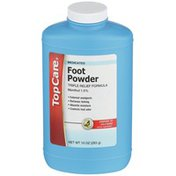 TopCare Triple Relief Formula Menthol 1.0% - External Analgesic Medicated Foot Powder