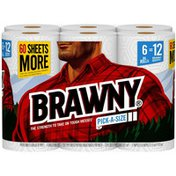 Brawny Pick-A-Size Paper Towels, 6 Double Rolls, 2-Ply