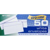 Top Flight Envelopes, White, Strip & Seal, No. 10
