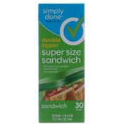 Simply Done Zipper Super Size Sandwich Bags
