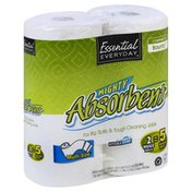 Essential Everyday Paper Towels, Mighty Absorbent, Huge Rolls, Multi-Size, Two-Ply