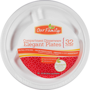 Our Family Plates, Elegant, Compartment Dinnerware, 10 Inch