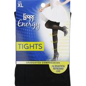 L'eggs Tights, Graduated Compression, Black, Size XL