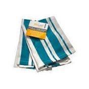 MU Kitchen Aquamarine Cotton Stripe Basketweave Dishcloths