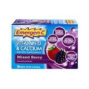 Emergen-C Vitamin D & Calcium Mixed Berry Flavored Fizzy Drink Mix - 30 PK