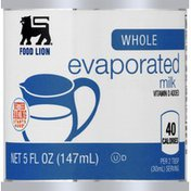 Food Lion Milk, Evaporated, Whole, Can