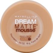 Maybelline Foundation, Matte Mousse, Sandy Beige, Medium 1