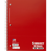Norcom Notebook, 5 Subject, Wide Ruled, 180 Sheets