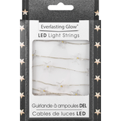 Everlasting Glow Light Strings, LED, Silver Wire, Stars with Warm White 20