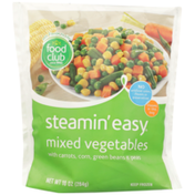 Food Club Steamin' Easy, Mixed Vegetables With Carrots, Corn, Green Beans & Peas