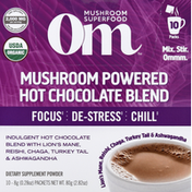 Om Mushroom Powder, Mushroom Powered, Hot Chocolate Blend, 10 Packs
