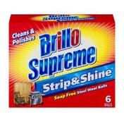 Brillo Supreme Strip & Shine Soap Free Steel Wool Balls - 6 CT