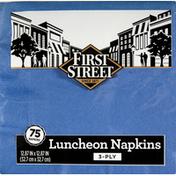 First Street Napkins, Luncheon, Cobalt, 3-Ply