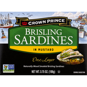 Crown Prince Sardines, in Mustard, Brisling, One Layer