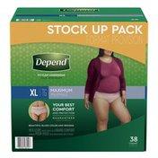 Depend FIT-FLEX Incontinence Underwear for Women, Maximum Absorbency, XL, Blush