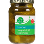 Food Club Pickles, Baby Whole Dill, Kosher