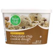 Food Club Chocolate Chip Cookie Dough Vanilla Premium Ice Cream Swirled With Chocolate Chip Cookie Dough & Chocolate Flavored Flakes