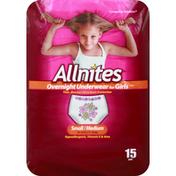 Allnites Underwear, Overnight, for Girls, Small/Medium