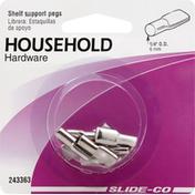 Slide Co Shelf Support Pegs, 1/4 Inch OD
