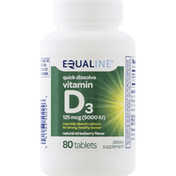 Equaline Vitamin D3, Quick Dissolve, 125 mcg, Tablets, Natural Strawberry Flavor
