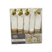 Lillian Tablesettings Polished Gold Pre Rolled Cutlery & Napkins Set