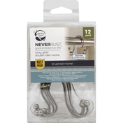 Zenna Home Hooks, Double Roller, Easy-Glide, Brushed Nickel, 12 Pack