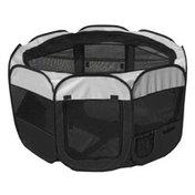 Petzlife All-Terrain Lightweight Easy Folding Wire-Framed Collapsible Travel Dog Playpen - Black - L