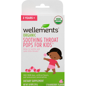 Wellements Throat Pops, Soothing, Organic, for Kids, Strawberry Flavor