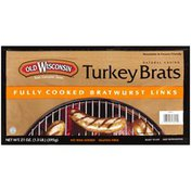 Old Wisconsin Natural Casing Fully Cooked Turkey Brats Bratwurst Links