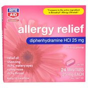 Rite Aid Pharmacy Allergy Medication, Coated Minitabs, 24 minitabs